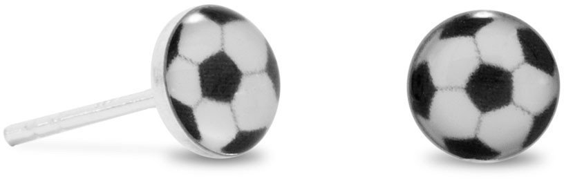Soccer Ball Stud Earrings 925 Sterling Silver