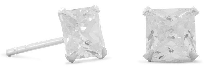 "6mm (1/4"") Square CZ Stud Earrings 925 Sterling Silver"