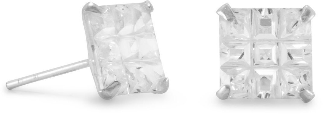 "8mm (1/3"") Square CZ ""9 Cut"" Design Earrings 925 Sterling Silver"