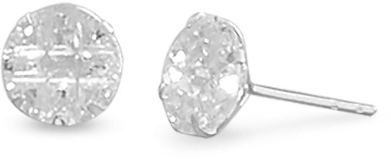 "8mm (1/3"") Round CZ ""9 Cut"" Design Earrings 925 Sterling Silver"