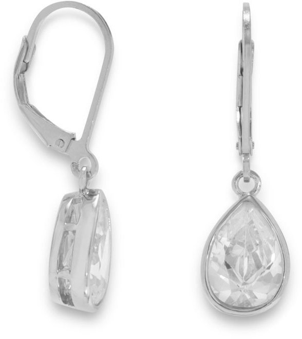 "Rhodium Plated Lever Back Earrings with 9x13mm (0.35""x0.51"") Pear CZ Drops 925 Sterling Silver"