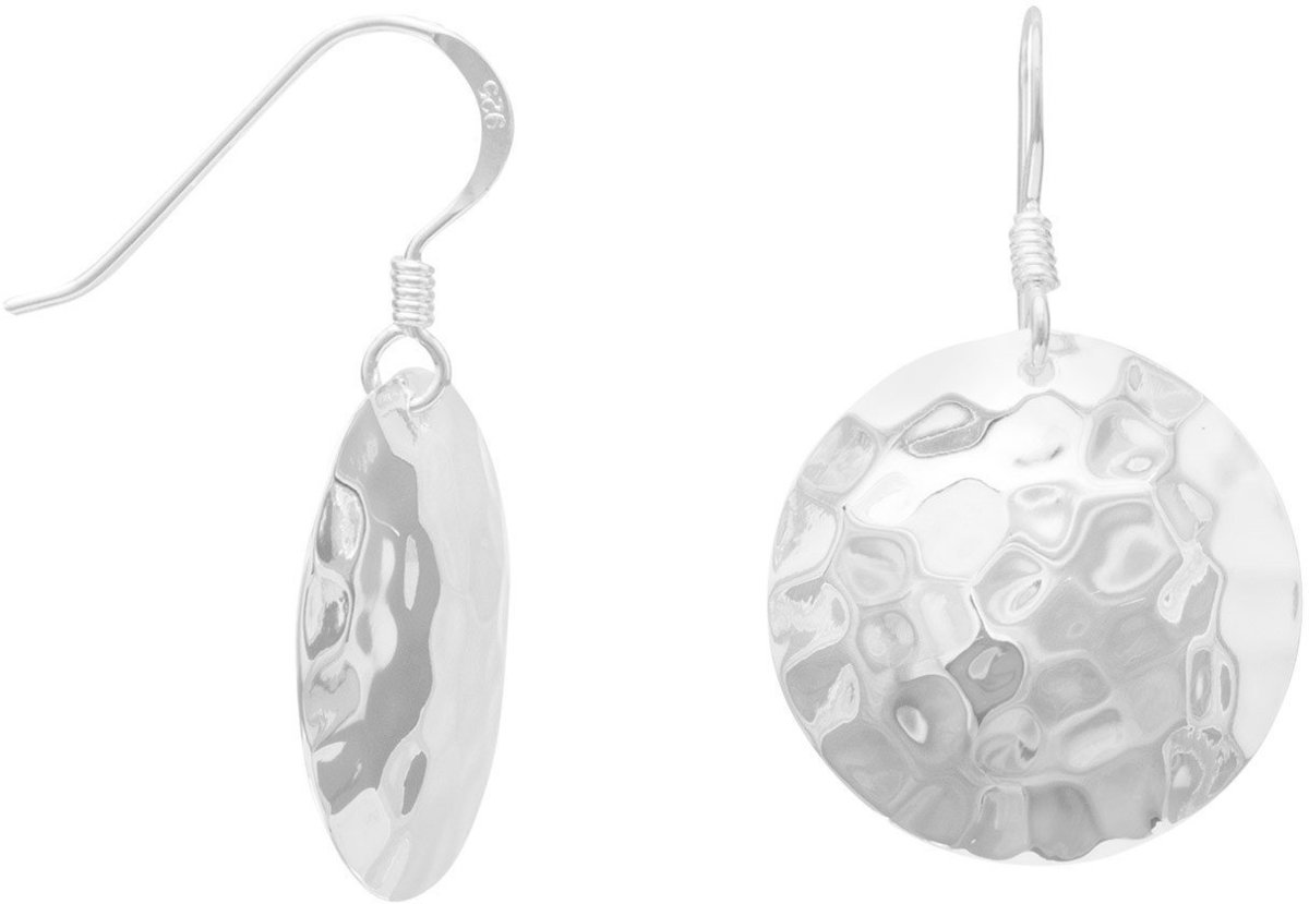 Round Hammered French Wire Earrings 925 Sterling Silver