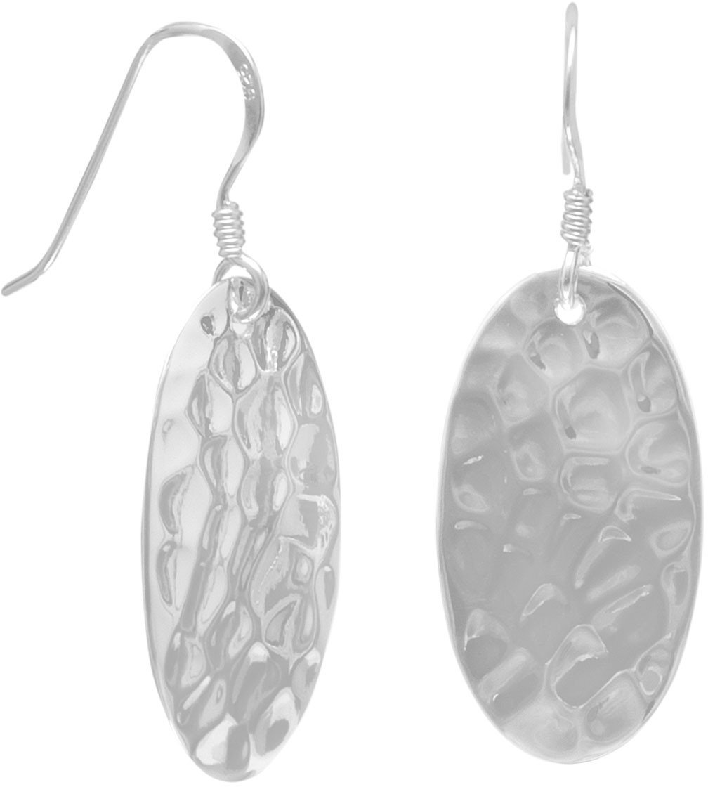 Large Oval Hammered French Wire Earrings 925 Sterling Silver
