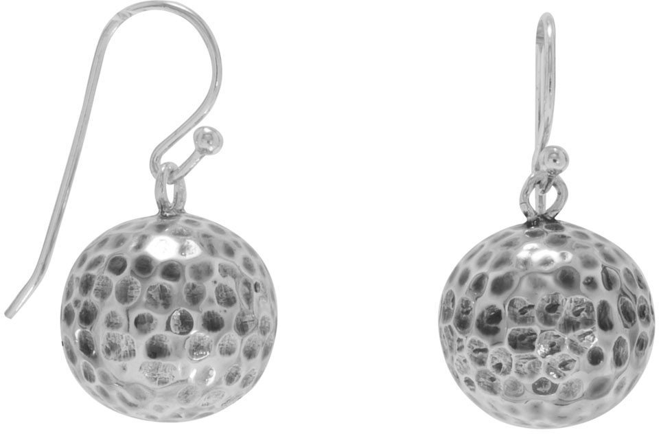 Hammered Bead French Wire Earrings 925 Sterling Silver