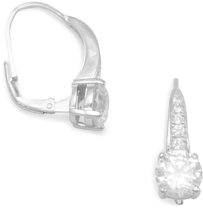 "Rhodium Plated Graduated CZ Lever Back Earrings with 8mm (1/3"") CZ 925 Sterling Silver"