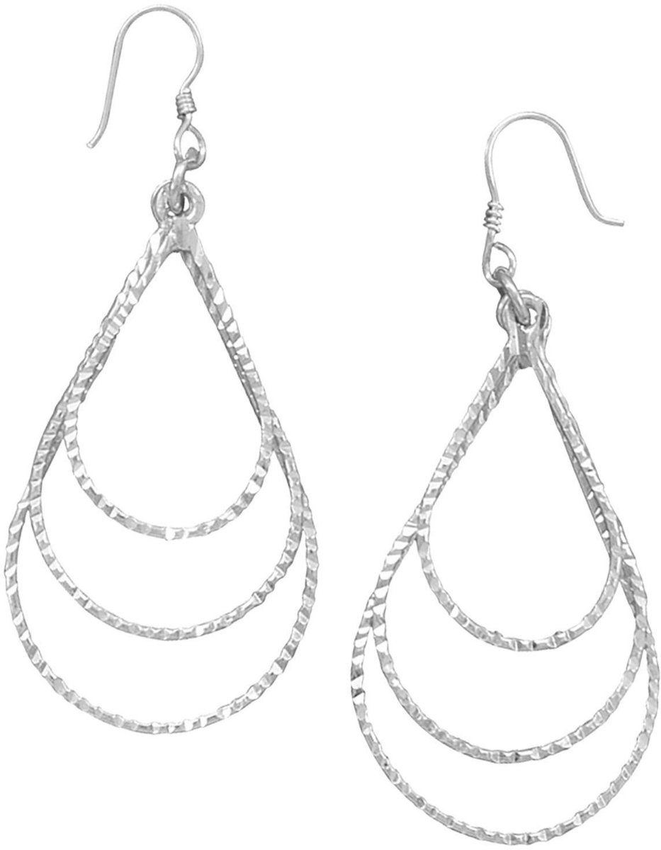 French Wire Earrings with 3 Graduated Diamond Cut Open Pear Drops 925 Sterling Silver
