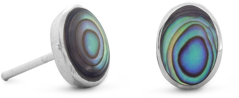 Oval Abalone Shell Stud Earrings 925 Sterling Silver