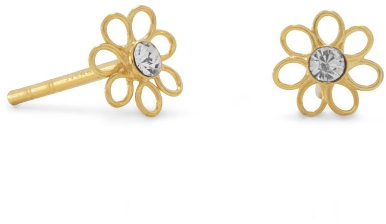 14 Karat Gold Plated Flower Stud Earrings with Clear Crystal Center 925 Sterling Silver