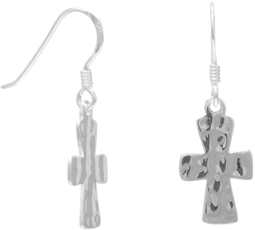 Hammered Cross French Wire Earrings 925 Sterling Silver