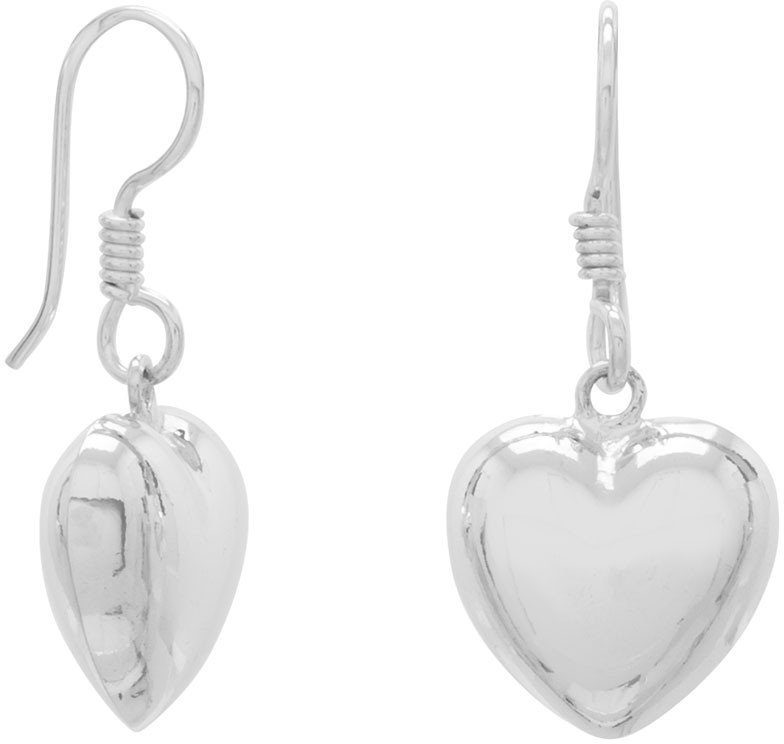Puffy Heart French Wire Earrings 925 Sterling Silver