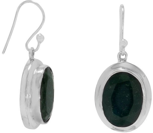 "10x15mm (0.39""x0.59"") Oval Rough-Cut Emerald French Wire Earrings 925 Sterling Silver"