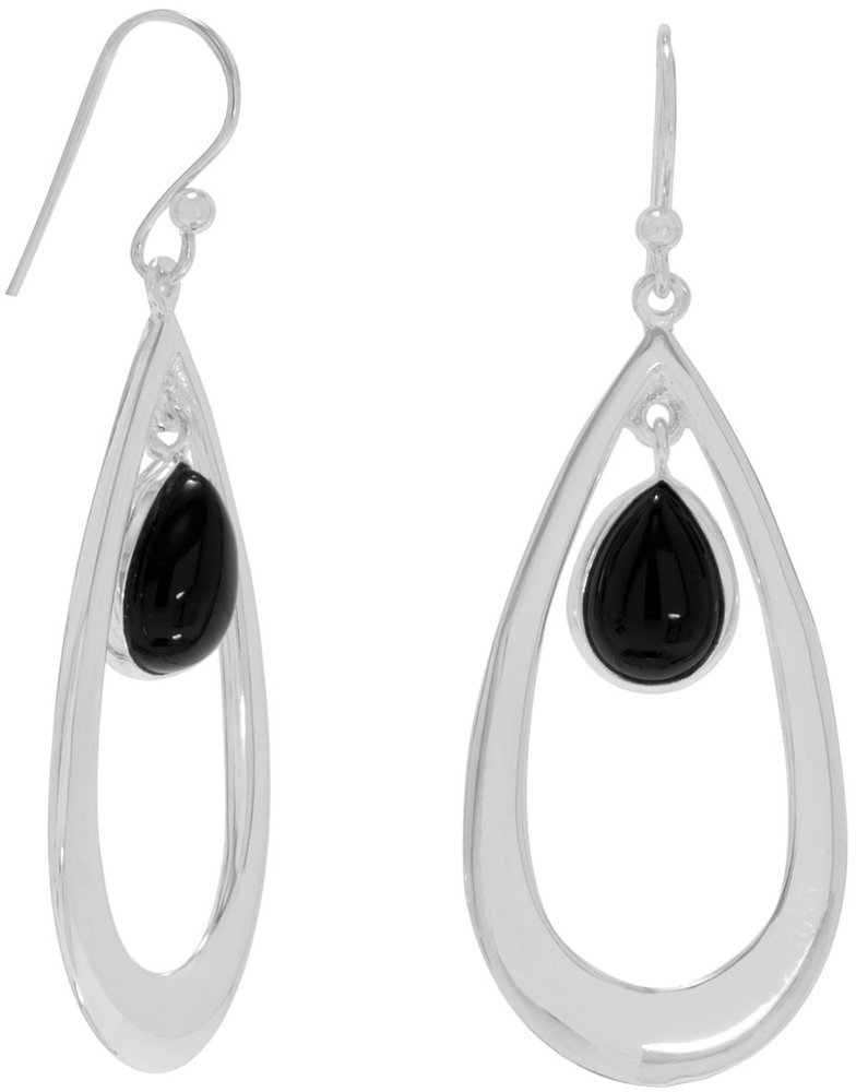 Polished French Wire Earrings with Black Onyx Drop 925 Sterling Silver