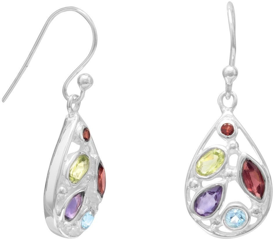 Multi Shape and Stone French Wire Earrings 925 Sterling Silver