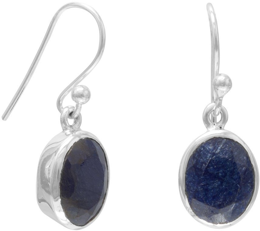 Oval Faceted Rough-Cut Sapphire Earrings 925 Sterling Silver