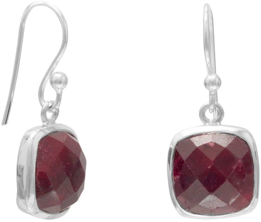 Square Faceted Rough-Cut Ruby Earrings 925 Sterling Silver