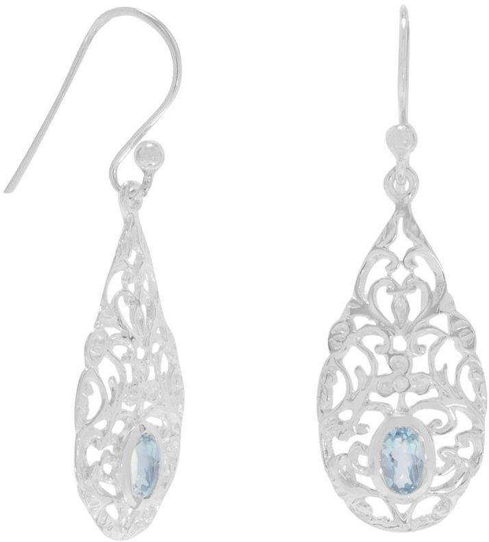 Pear Shape Blue Topaz Drop Earrings 925 Sterling Silver