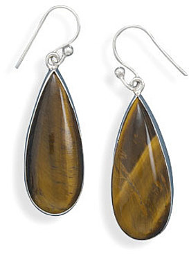 Tigers Eye Drop Earrings 925 Sterling Silver