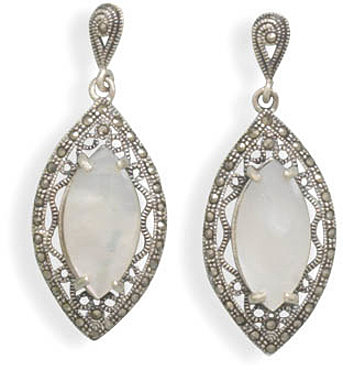 Cut Out Marcasite and White Shell Earrings 925 Sterling Silver