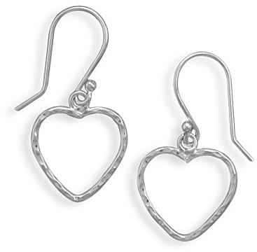 Open Heart French Wire Earrings 925 Sterling Silver