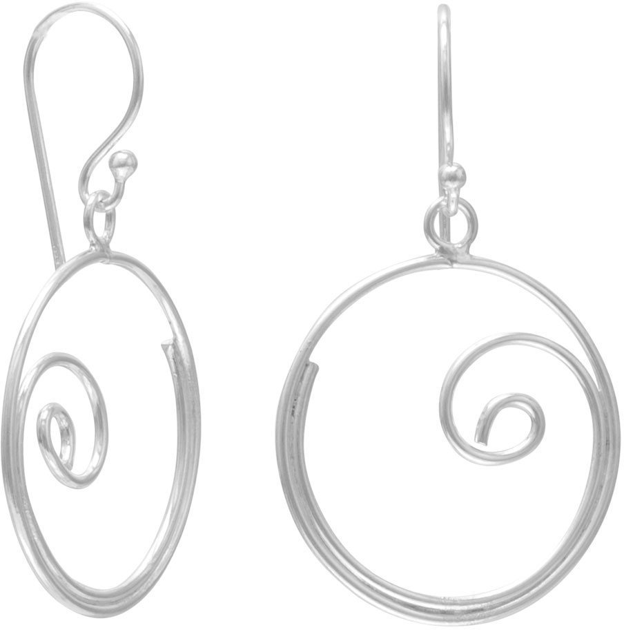 Thin Swirl Design Earrings 925 Sterling Silver