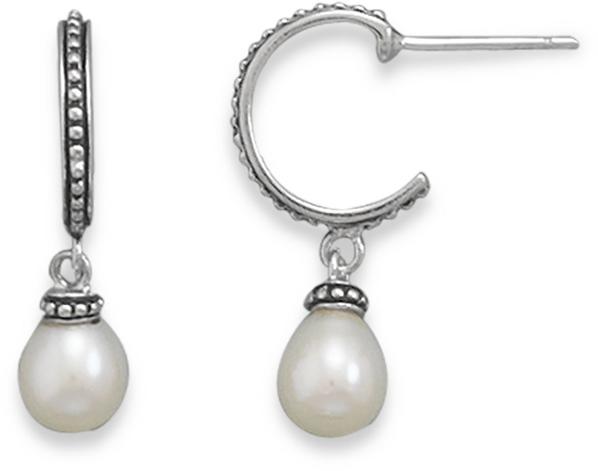 Rhodium Plated Cultured Freshwater Pearl Hoop Earrings 925 Sterling Silver