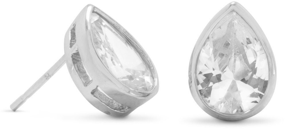 Rhodium Plated Tear Shape CZ Stud Earrings 925 Sterling Silver
