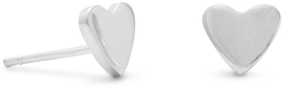 Polished Heart Stud Earrings 925 Sterling Silver
