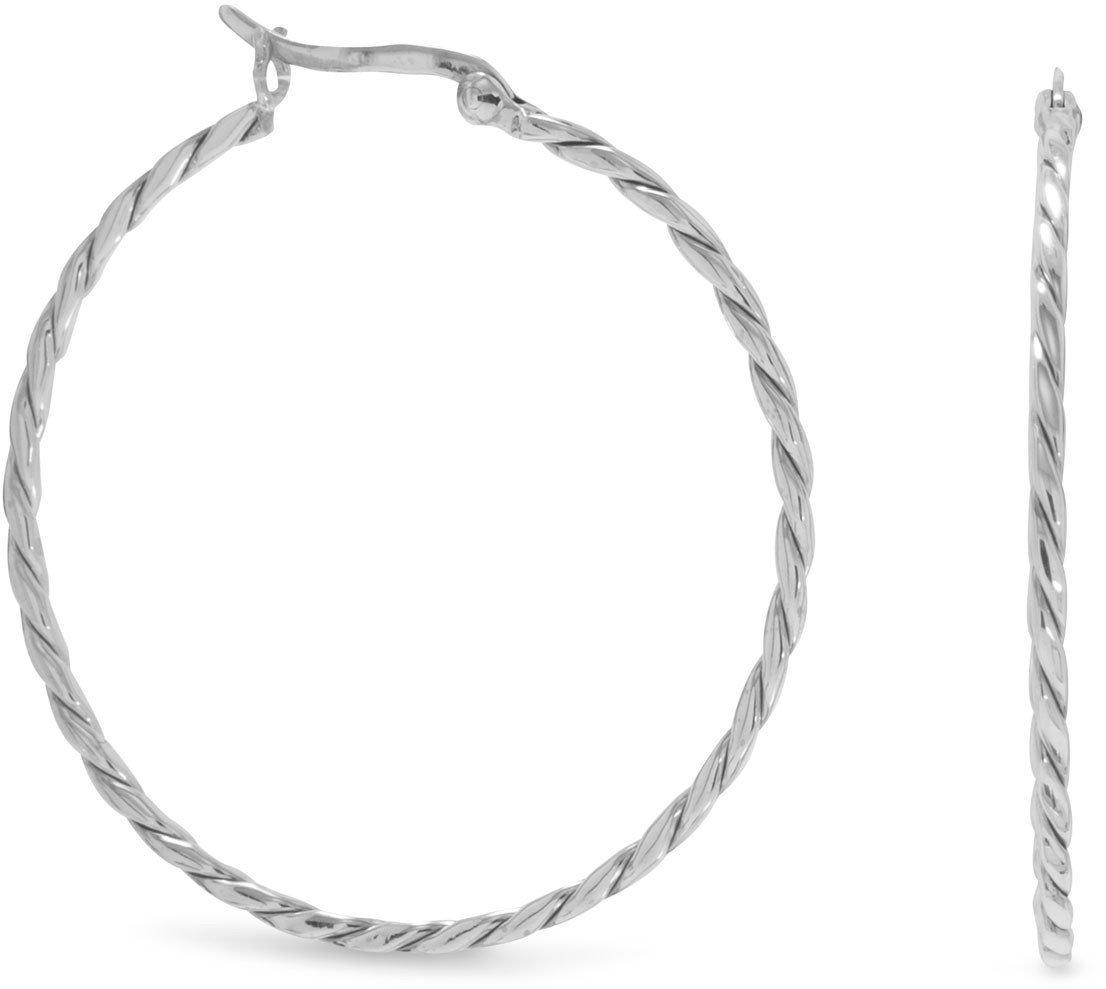 Thin Twist Hoop Earrings 925 Sterling Silver