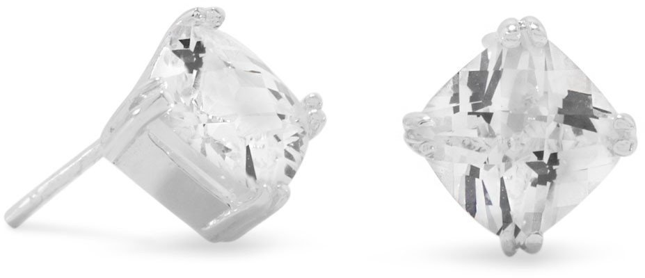 Diamond Shape CZ Stud Earrings 925 Sterling Silver