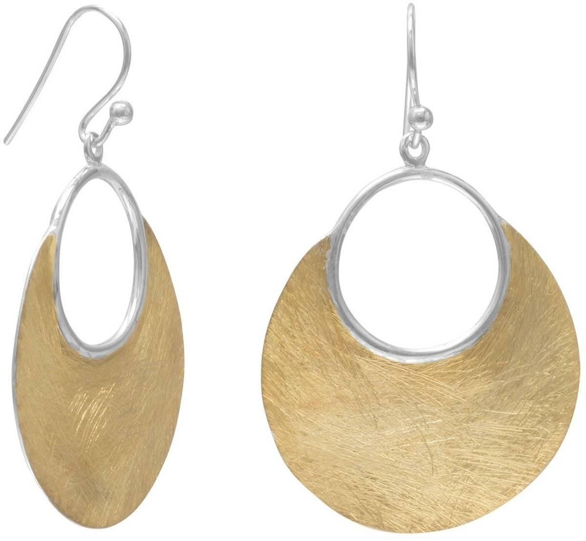 14 Karat Gold Plated Brushed Earrings 925 Sterling Silver