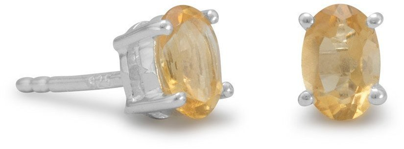 Oval Citrine Earrings 925 Sterling Silver