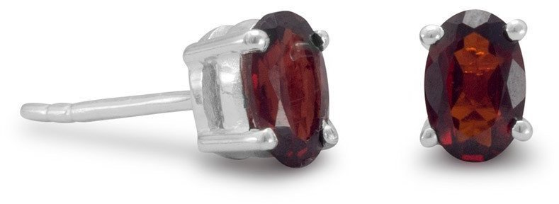 Oval Garnet Earrings 925 Sterling Silver
