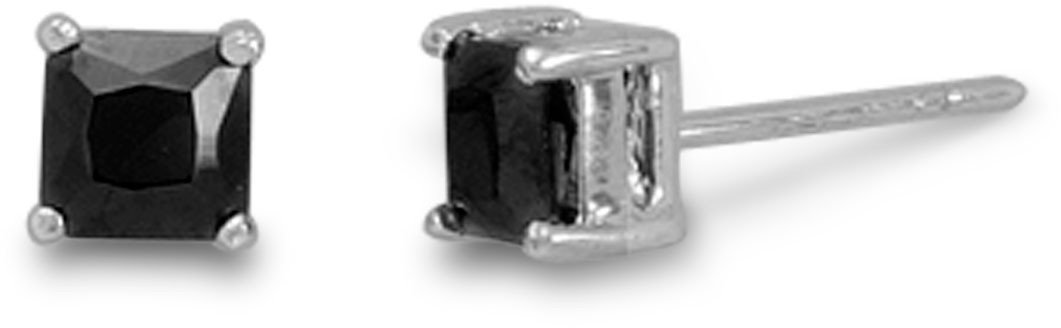 Rhodium Plated Black CZ Studs 925 Sterling Silver