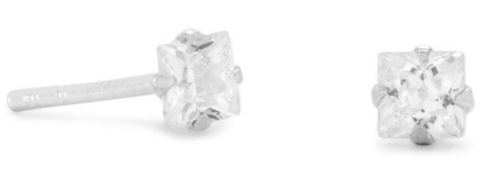 "3mm (1/8"") CZ Square Earrings 925 Sterling Silver"