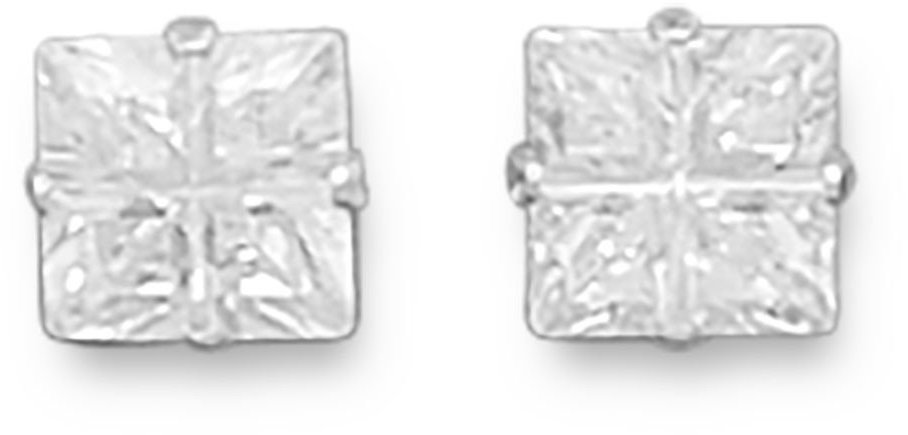 "6mm (1/4"") 4 Cut Square CZ Earrings 925 Sterling Silver"
