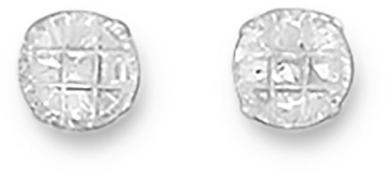 "5mm (1/5"") 9 Cut Round CZ Earrings 925 Sterling Silver"