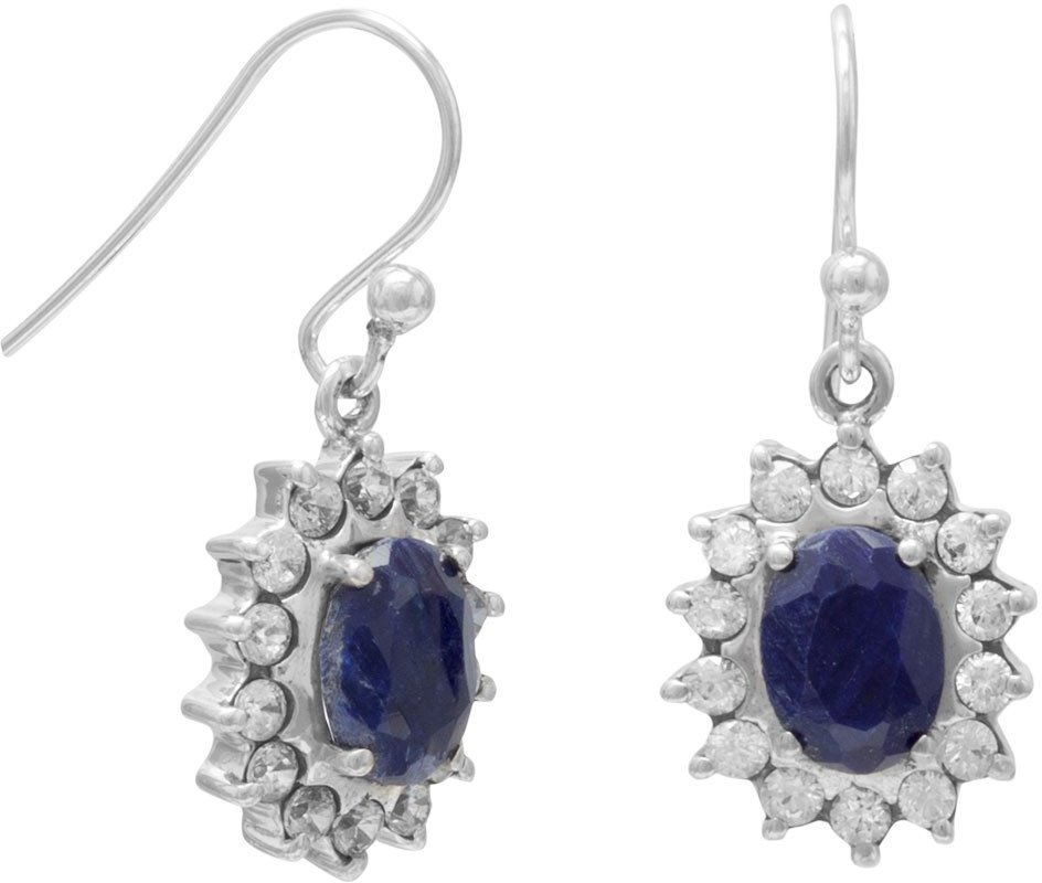 Rough-Cut Sapphire and Clear CZ French Wire Earrings 925 Sterling Silver
