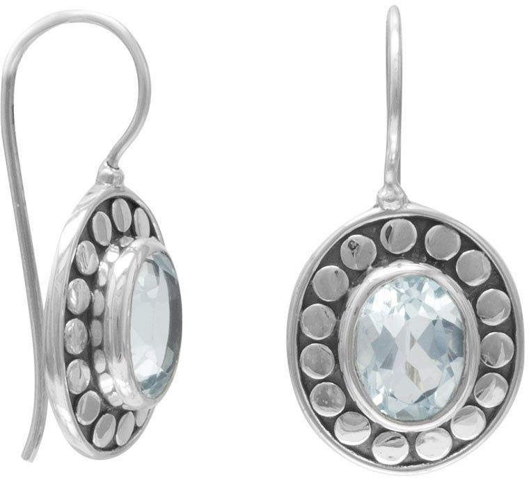 Oxidized Blue Topaz Earrings 925 Sterling Silver
