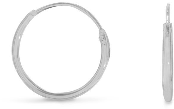 "14mm (9/16"") Endless Hoop Earrings 925 Sterling Silver"