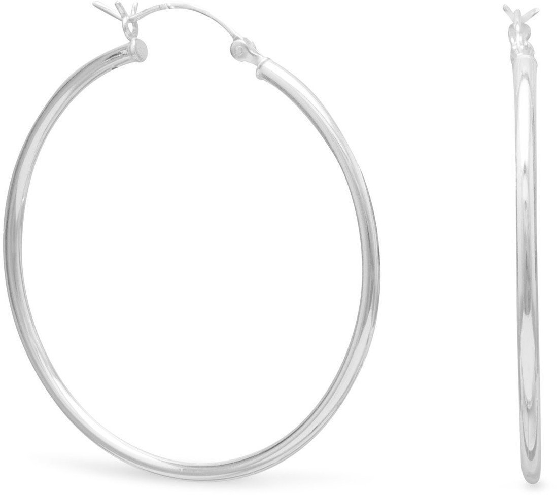 "2mm (0.08"") x 40mm Hoop Earrings with Click 925 Sterling Silver"