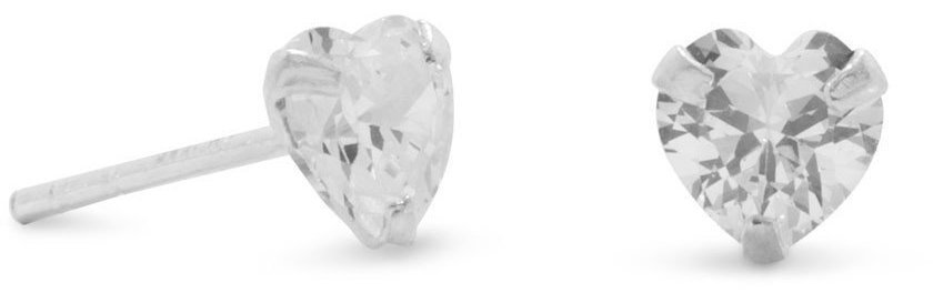 5x5 Heart CZ Stud Earrings 925 Sterling Silver