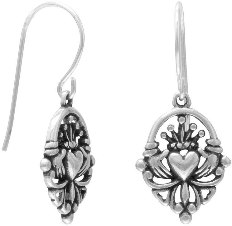 Claddagh Earrings on French Wire 925 Sterling Silver