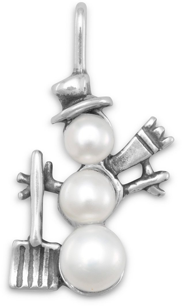 Cultured Freshwater Pearl Snowman Charm 925 Sterling Silver