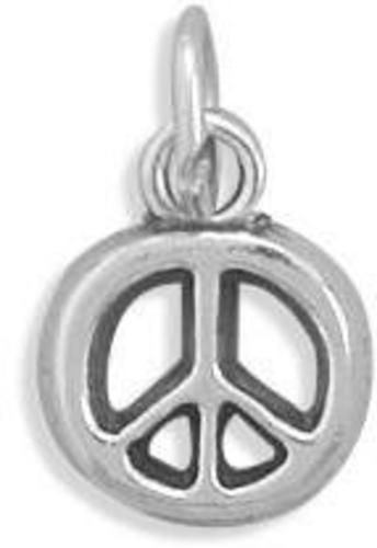 (C) Peace Symbol Charm 925 Sterling Silver