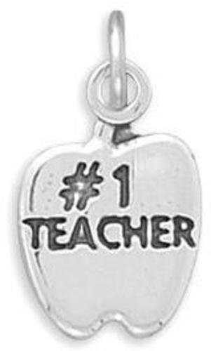 "(C) ""#1 TEACHER"" in Apple Charm 925 Sterling Silver - LIMITED STOCK"