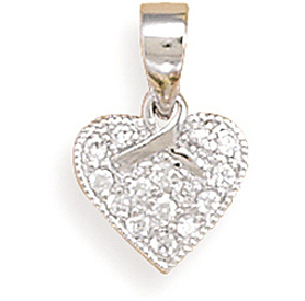 Rhodium Plated CZ Heart/Ribbon Pendant 925 Sterling Silver