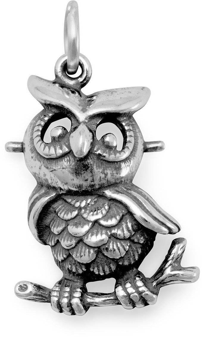 (C) Oxidized Owl Charm 925 Sterling Silver