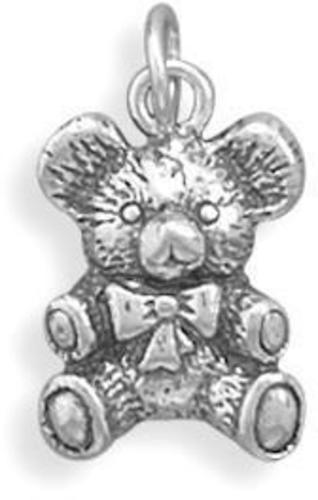 Antique Teddy Bear Charm 925 Sterling Silver