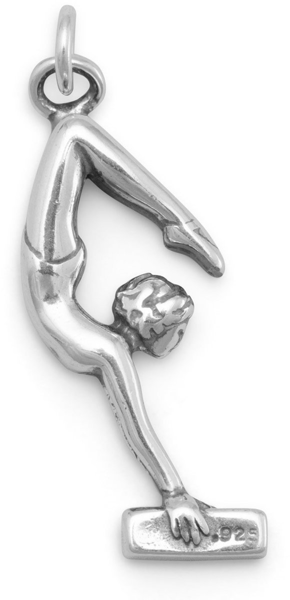 "1"" Girl Gymnastics Charm 925 Sterling Silver"