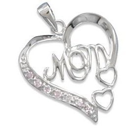 "Rhodium Plated Cut Out Heart with ""Mom"" and Pink CZ Pendant 925 Sterling Silver"